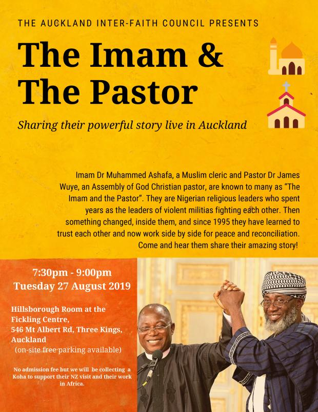 The Imam and the Pastor visit to New Zealand flyer - Auckland